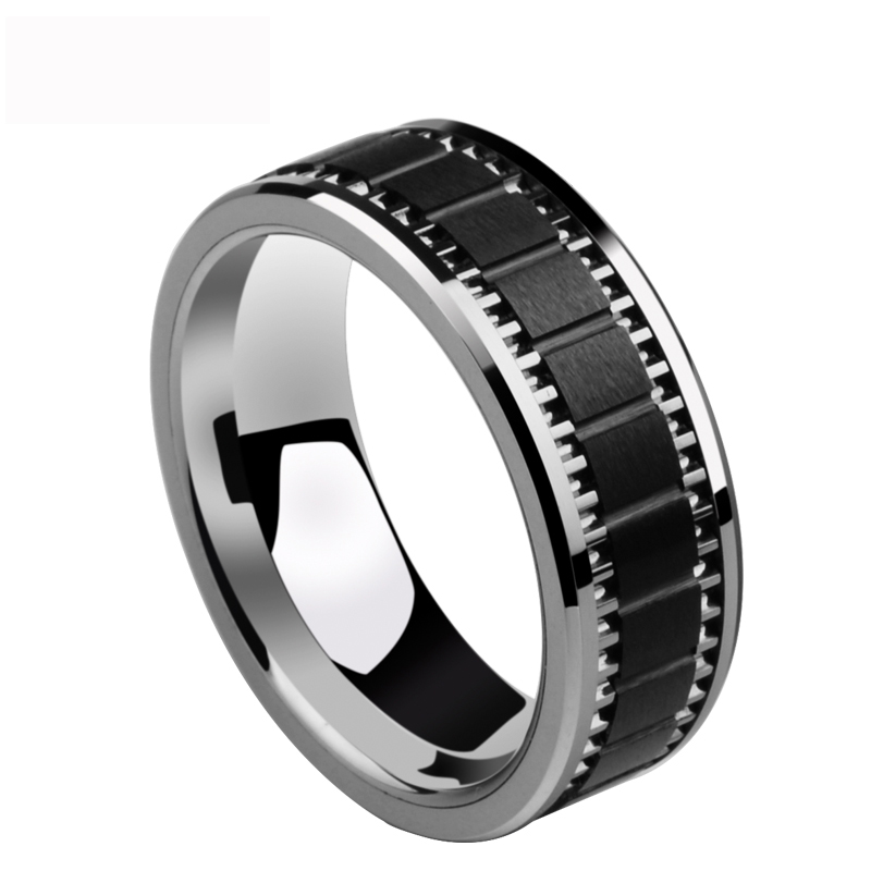 New Special Vintage Design 8mm Width High Polished Tungsten Man s Band Rings Inlay Brushed Black