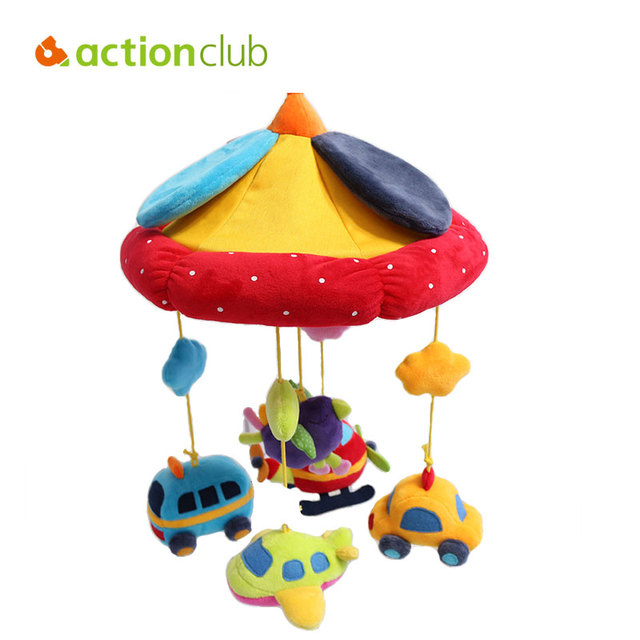 Actionclub Baby Rattles Newborn Baby Mobiles Plush Toys Car Plane Bed Hanging Toys Ring Bell Kids Educational Toys