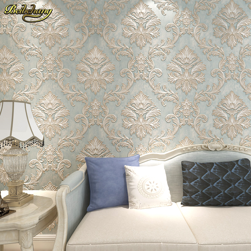 Beibehang 3d damask wall paper bedroom living photo mural for Bedroom wallpaper sale