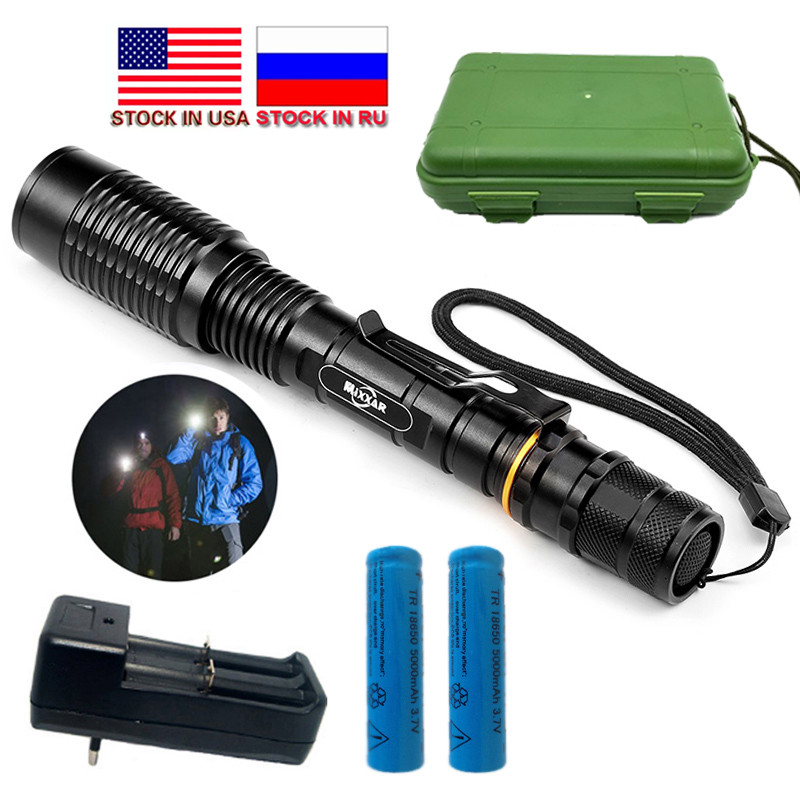 Dropshipping 8000LM LED Senter LED V5 T6 5 Mode Zoomable Torch Senter 18650 Baterai Saham di AS, RU