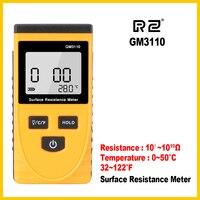 Medidor de resistência anti-estático gm3110 do lcd handheld do verificador da resistência de superfície