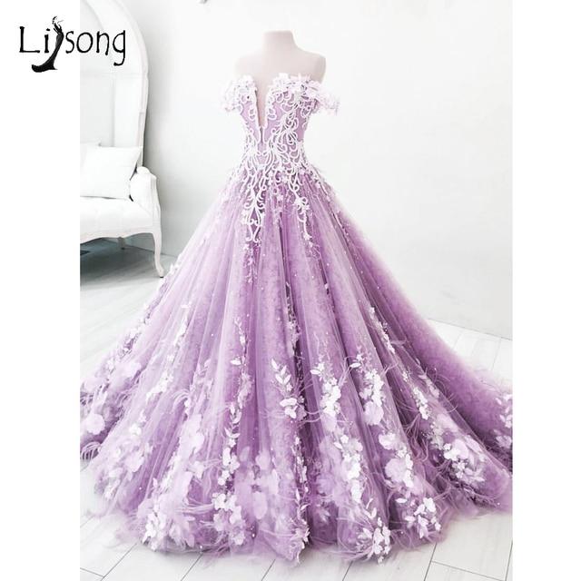 02ad23948 Romantic Lavender 3D Flower Wedding Dresses Dubai Bead Crystal Tulle Bridal  Gowns Puffy Off Shoulder Backless Vestidos De Noiva