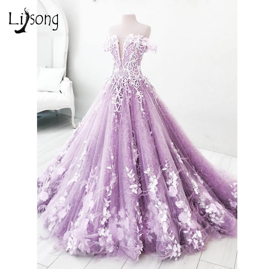 Romantique Lavande 3D Fleur De Mariage Robes Dubaï Perle Cristal Tulle Robes De Mariée Puffy Encolure Dos Nu Robes De Noiva