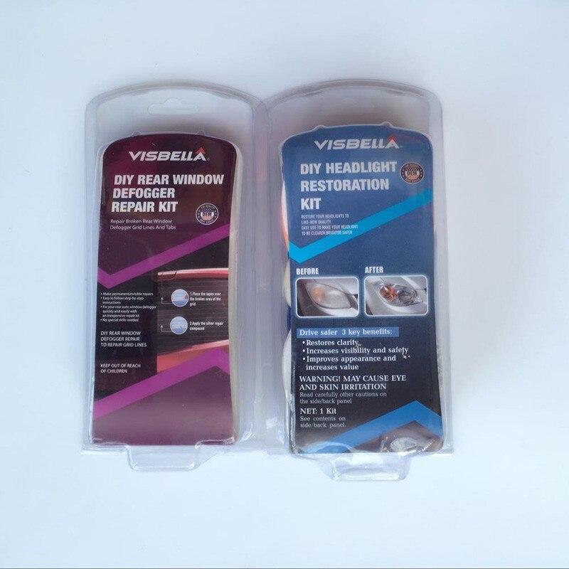 ФОТО DIY headlight restoration Headlamp Brightener Kit for car head lamp lenses and Visbella DIY Real window defogger repair kit