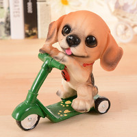 Toy Dog Figurines Cute Dog Riding Bike Model Miniature Fairy Figurine Doll Anime Sale Home Toys