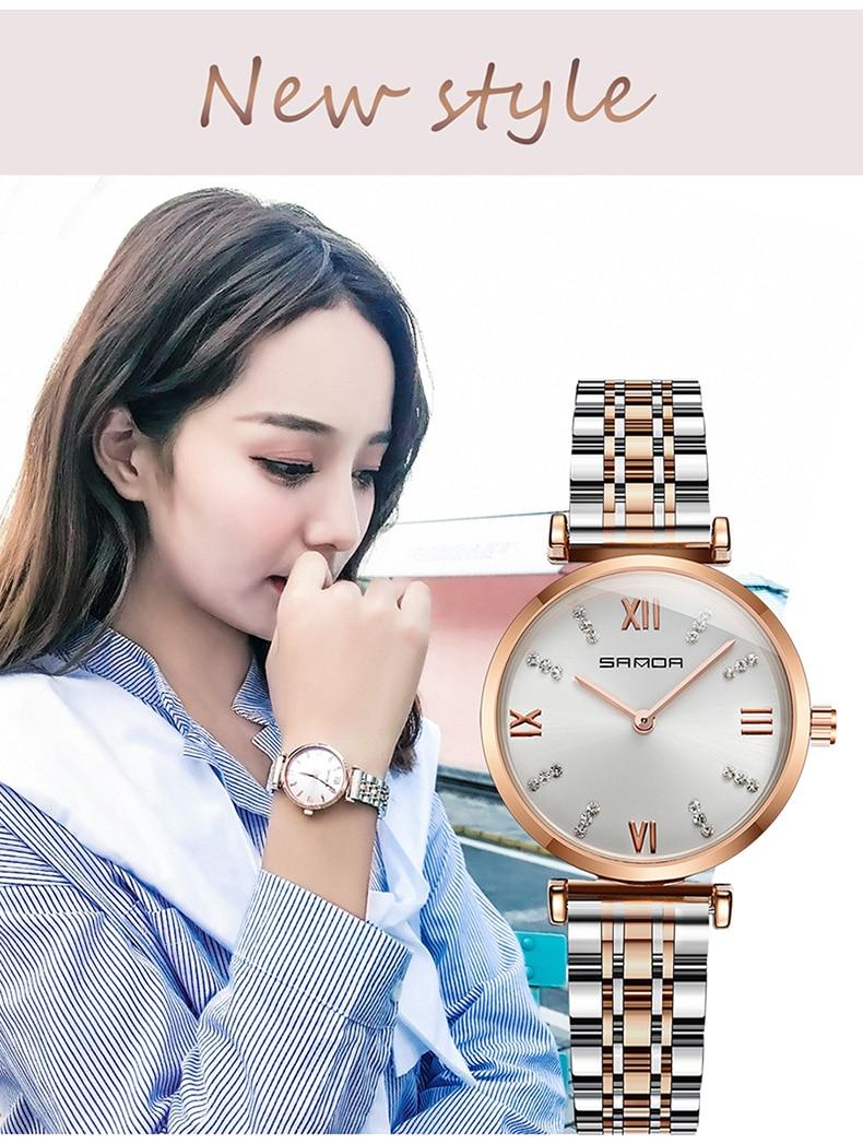 Relojes de marca famosa de oro rosa, reloj vintage a prueba de agua informal de estrella de las señoras, reloj de diseñador de moda de acero inoxidable para mujer - 2