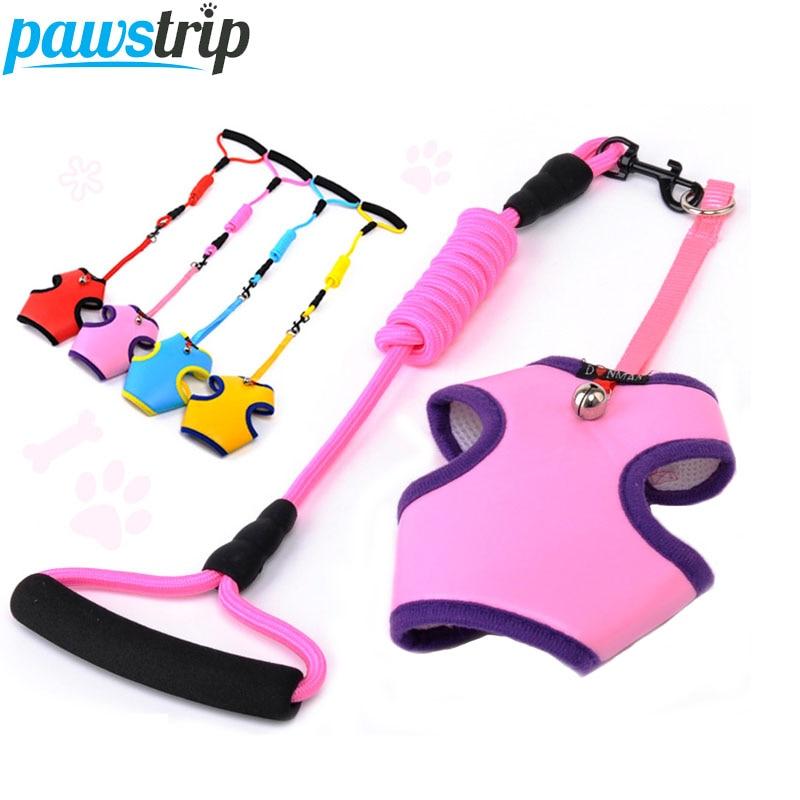 Pawstip Nylon Dog Leash Set Mesh Breathable Small Dog Harness Vest Leash Outdoor Pet Walking Lead S/M/L