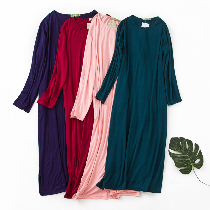 Summer Nightshirt Thin Soft Modal Nightgowns Long Sleeve Sleepshirts Solid Big Size Sleepwear Women Night Dress