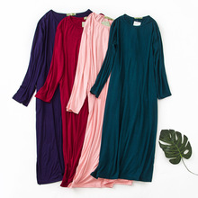 Summer Nightshirt Thin Soft Modal Nightgowns Long Sleeve Sleepshirts Solid Big Size Sleepwear Women Night Dress