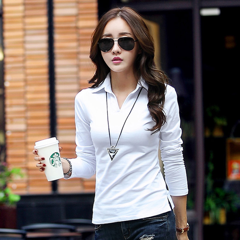 Spring Autumn   Polo   Shirt Women 2019 Long Sleeve Solid Slim   Polos   Mujer Shirts Tops Fashion Plus Size   Polo   Femme Candy Color