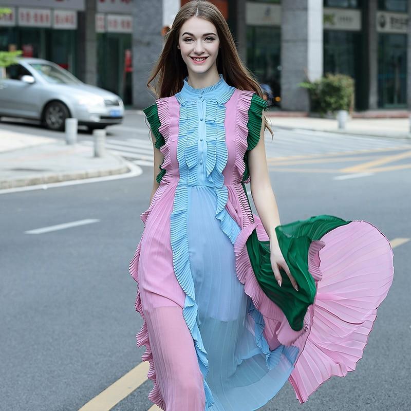 De alta calidad de la nueva manera  runway dress mujeres cubierto sin mangas de