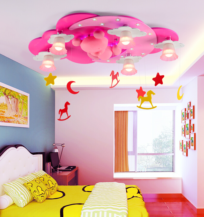 Pink color kids room lighting boy cartoon warm girl for Kids ceiling lights for bedroom