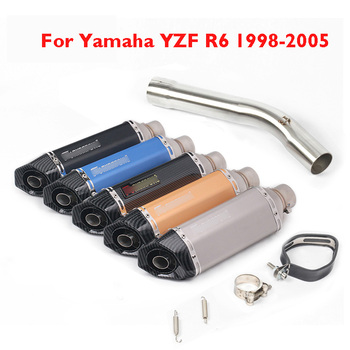 YZF R6 Motorcycle Exhaust Pipe Muffler with DB Killer Connect Link Pipe Mid Middle Tube for Yamaha YZF R6 1998-2005 Moto Bike