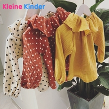 Купить с кэшбэком 2018 New Fashion Blouse for Girl Kids Children Long Sleeve Pullover Shirt Cotton Polka Dots Sweet Baby Girls School Blouses Top