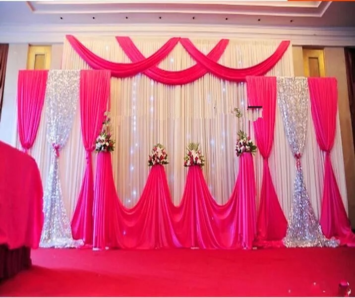 Expree Free 3*6m Custom Design wedding backdrop curtain with swag backdrop decoration romantic Ice silk stage curtain wedding