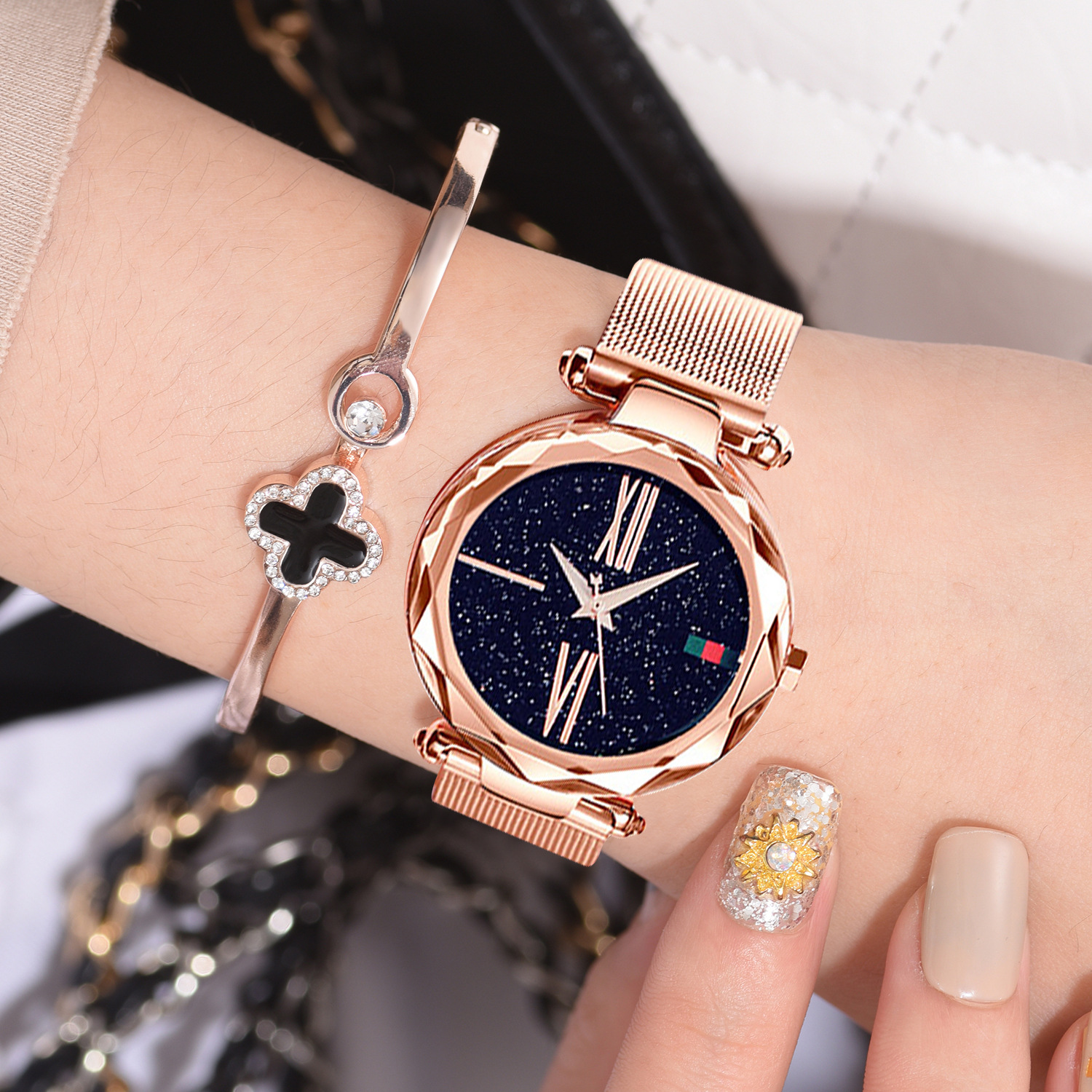 Dropshipping New Ladies Watch Luxury Women's Gold Watches Starry Sky Crystal Wrist Watch Women Gift Clock Relojes Para Mujer