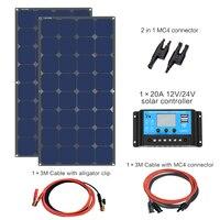 В монокристаллическая панель Вт 12 вольт или 24 В солнечная панель s комплект 200 с 20A Контроллер заряда для RV Солнечная зарядка Off Grid system