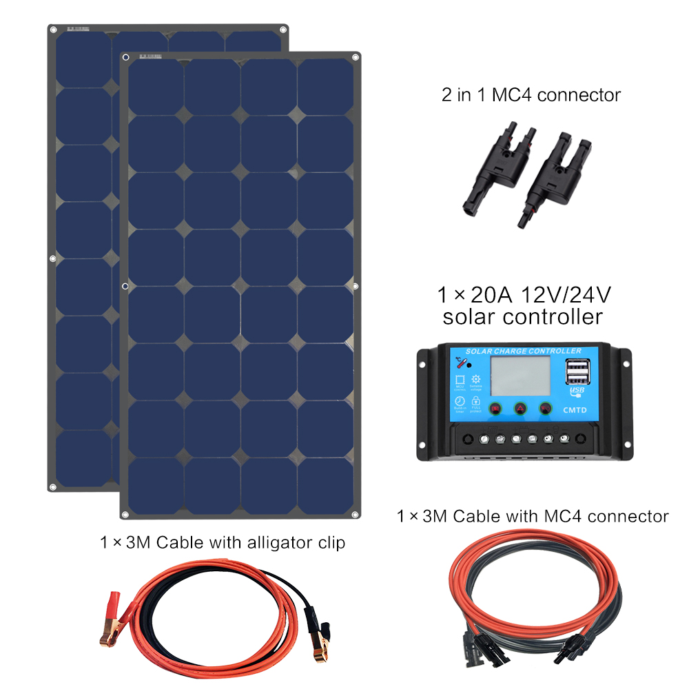 200 ватт 12 вольт или 24 В солнечная панель s комплект монокристаллическая панель с 20А Контроллер заряда для RV солнечной зарядки вне сети систем
