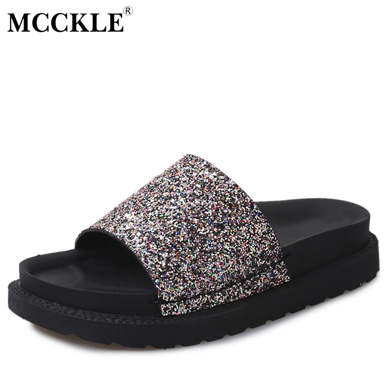 MCCKLE 2017 Women Shoes Woman Slippers Open Toe Black Fashion Flat Glitter Summer Platform Comfortable Casual New Ladies mcckle 2017 fashion woman shoes flat women platform round toe lace up ladies office black casual comfortable spring
