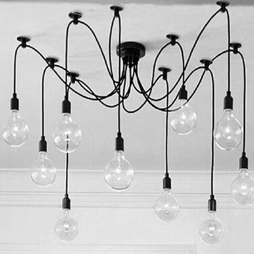 Mordern Nordic Retro Edison Bulb Light Chandelier Vintage Loft Antique Adjustable DIY E27 Art Spider Ceiling Lamp Fixture Light retro edison bulb art spider pendant chandelier vintage loft antique diy e27 ceiling lamp fixture no bulbs ac110 240v
