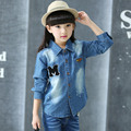 2017 Children Designs Spring Long Sleeve Blue Denim Blouse Girl Cool Style Slim Girls Blouse Outerwear Autumn Child Clothing