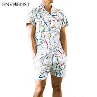 Envmenst 2017 Summer Style Party Overalls Short Sleeve Men S Rompers Male Single Breasted Jumpsuit Cargo