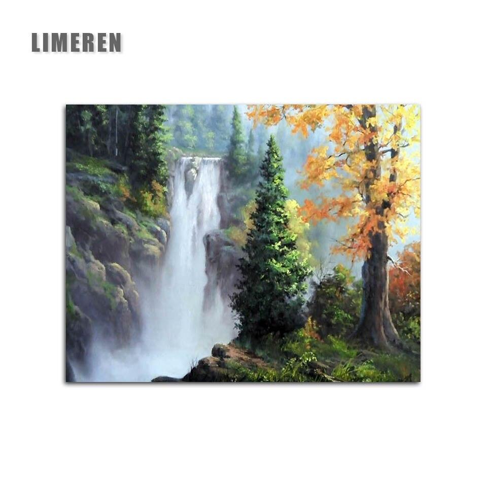 US $6 34 OFF Tidk Air Terjun Pohon Valley Lukisan Dengan Angka Pemandangan Alam Mewarnai Dengan Angka Painting & Calligraphy AliExpress