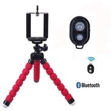 Foleto flexível mini tripé esponja polvo selfie bluetooth controle remoto universal para câmera digital iphone 7 samsung huawei