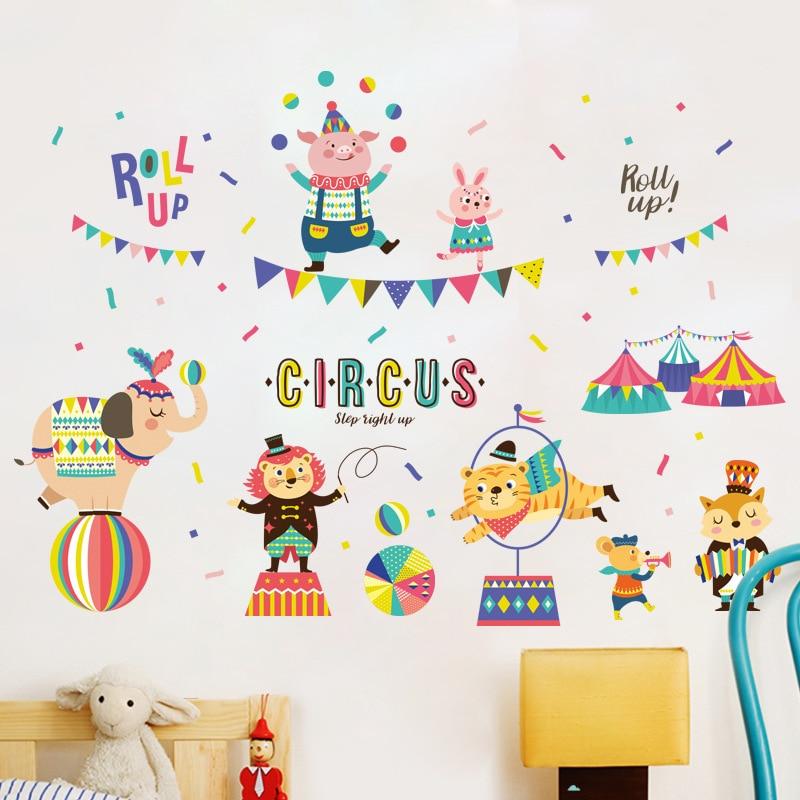 US $5.68 29% OFF|DIY Cute Cartoon Circus Show Wall Stickers Childrens  Bedroom Kindergarten Background Home Decor Stickers-in Wall Stickers from  Home & ...