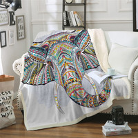 3D Elephant Sherpa Throw Blanket Bohemia Stripes Bedclothes Colorful Printed Indian Bed Blankets Sofa Cover