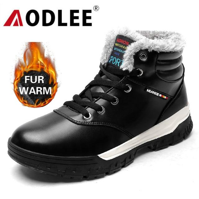 AODLEE الرجال أحذية الشتاء أفخم الفراء حذاء الثلج عالي الرقبة دافئ الرجال أحذية رياضية الرجال موضة حذاء من الجلد حذاء كاجوال حجم 48 بوتاس hombre