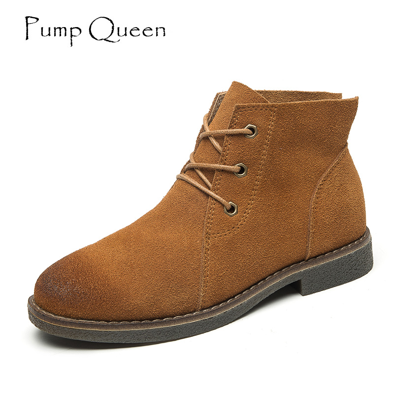 Scrub Cowhide Women's Ankle Boots Lace- up Autumn Ladies Shoes Casual Flat Short Boots Genuine Leather Shoes Martin Boots front lace up casual ankle boots autumn vintage brown new booties flat genuine leather suede shoes round toe fall female fashion