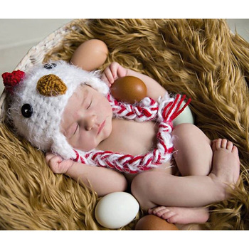 Recién Nacido lindo sombrero de pollo atrezos para fotografía de bebés recién nacidos sombrero de bebé gorro de punto sesión de fotos de bebé accesorios de utilería