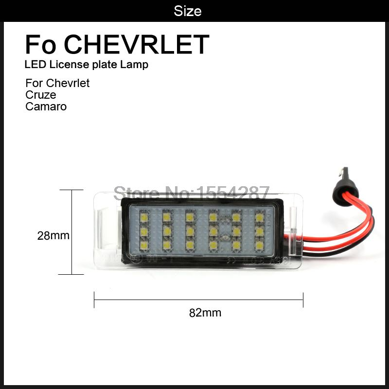 2x LED LICENSE PLATE LIGHT For Chevy Chevrolet Cruze Camaro