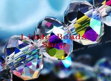 Free Shipping! Wholesale AAA Top Quality Crystal 5040 Rondelle Beads 8mm - Half Clear AB colour B080451