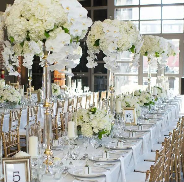 Elegant New Design Acrylic Crystal Beautiful Centerpieces Flower Stand For Wedding Table Decoration