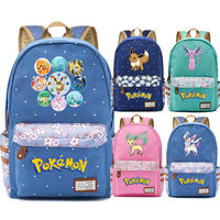 Anime Game Eevee Evolve Flareon Jolteon Flower Dot Boy Girl School bag Women Bagpack Teenagers Schoolbags Canvas Femme Backpack
