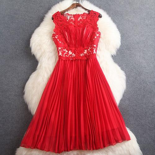Весна Лето дизайнерские женские платья красные темно синие с вышитыми бисером цветами плиссированные модные брендовые до колен платья для мероприятий - Цвет: Красный