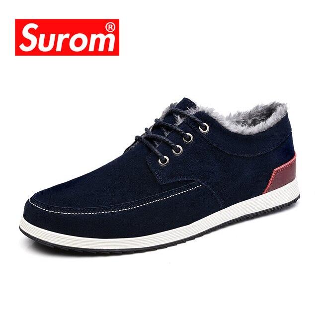SUROM Krasovki dos homens da Marca Casual Sapatos de Camurça de Couro do  Inverno Quente Lace 61cad958352
