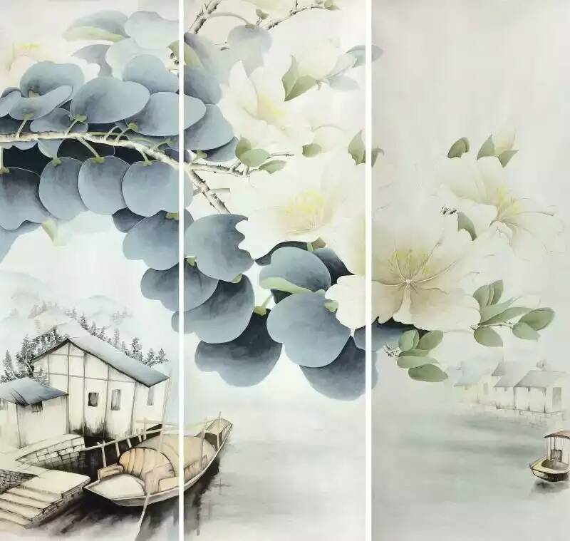 Customized Hand-painted silk/non-woven Hand painted wallpaper painting flower with bird wallcovering many patterns/backgrounds