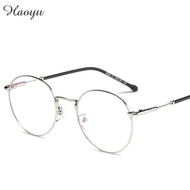 Haoyu Retro Round Glasses Men Women Glasses Frame Prescription ...
