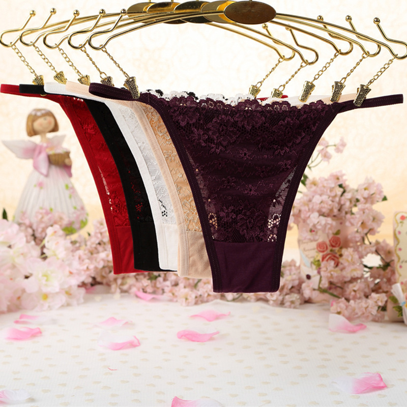 7color Gift Beautiful Lace Leaves Women's Sexy Lingerie Thongs G-string Underwear Panties Briefs Ladies T-back 1pcs/Lot Wq231