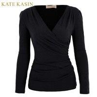 Kate Kasin 2017 Spring Pleated T Shirts Women Long Sleeve V Neck Tunic Tee Shirt Femme