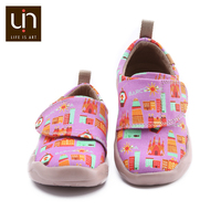 UIN Art City Design Painted Casual Shoes for Toddler Hook & Loop Soft Canvas Flats Boys/Girls Outdoor Kids Shoes Sneakers