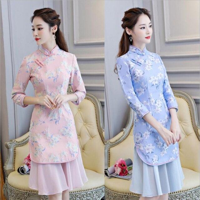 2019 Newest fashion modern vietnam ao dai dress for women half skirt qipao style dress ladies floral jacquard cheongsam S-2XL