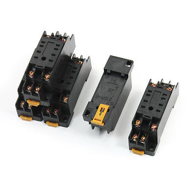 5pcs PYF08A 35mm DIN Rail Mounted Power Relay Socket Base for HH52P MY2J 3 pcs din rail mounting plastic relay socket base holder for 8 pin relay pyf08a