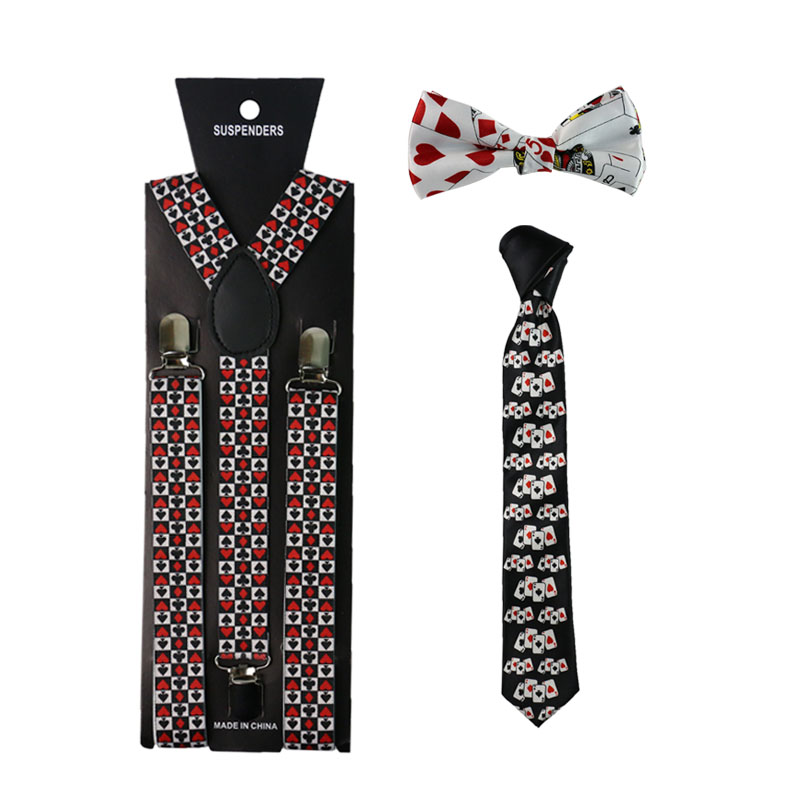 Hip Hop Poker Cards Suspenders Necktie And Bowtie Set Clip-on Elastic Y-Shape Back Braces Suspenders For Women Men