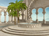 fountain oriental palace outdoor patio Palm tree column backdrop Vinyl cloth High quality Computer print wall background