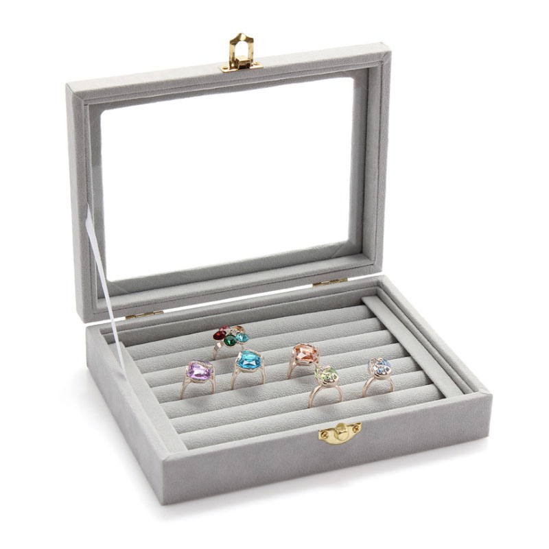 Hot sale jewelry ring box Fabric jewelry organizer case glass velvet earring holder Gary jewelry box Women Jewel Storage