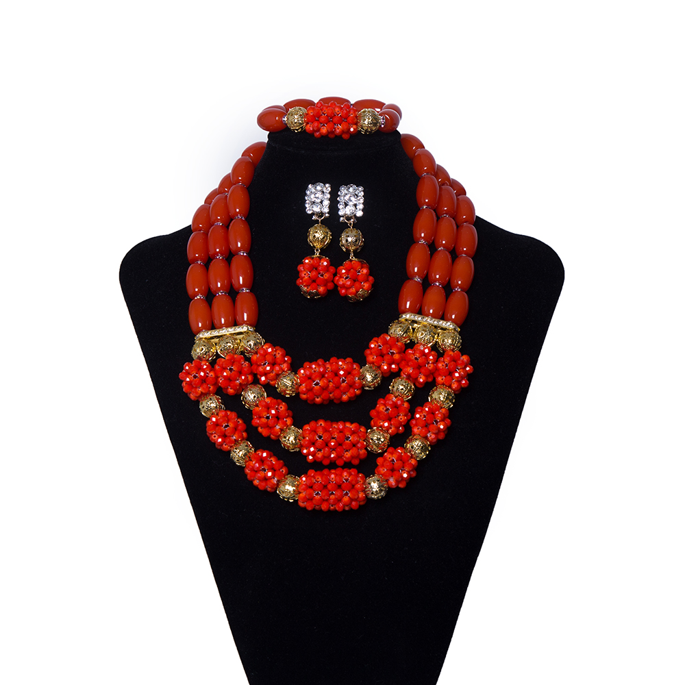 New India Red Coral Beads Dubai Bridal Wedding Necklace Jewelry Sets African Beads Jewelry Set Nigerian Wedding Bridal Jewelry цена